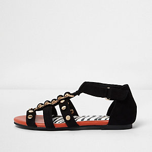 Girls black studded flat sandals