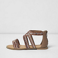 Girls pink diamante embellished flat sandals