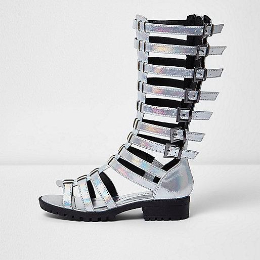 Girls silver knee high gladiator sandals