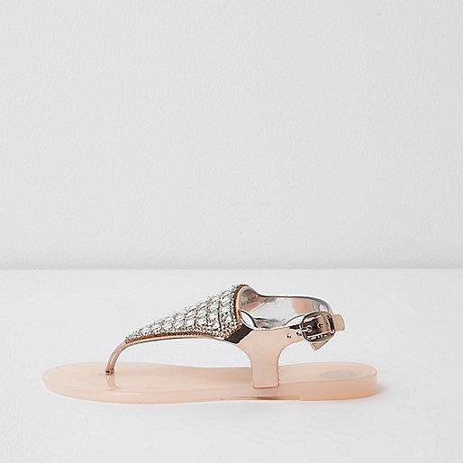 Girls pink diamante jelly sandals