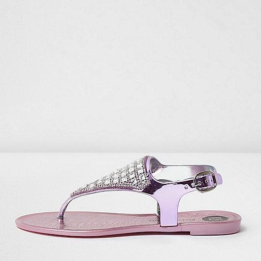 Girls light purple diamante jelly sandals