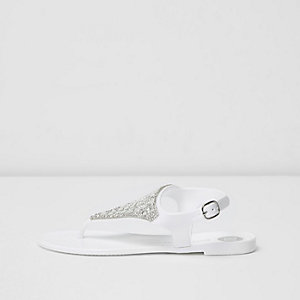 Girls white diamante jelly sandals