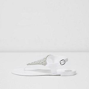 Sandales en plastique blanches ornées pour fille