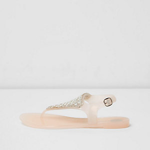 Girls blush pink rhinestone jelly sandals
