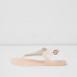 Sandales en caoutchouc rose poudré à strass pour fille