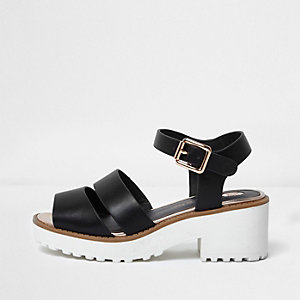 Girls black contrast sole chunky sandals