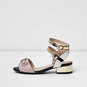 Girls pink diamante block heel sandals