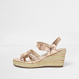 Girls pink woven espadrille wedge sandals