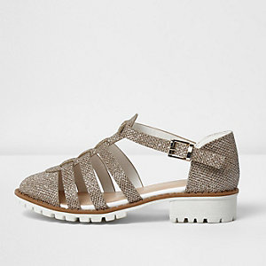Girls gold metallic sandals