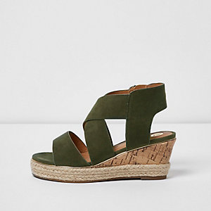 Girls khaki green chunky strap wedges