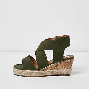 Chaussures compensées à brides vert kaki pour fille