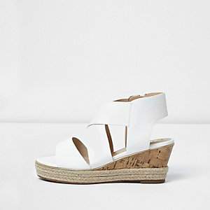 Girls white cork wedge sandals