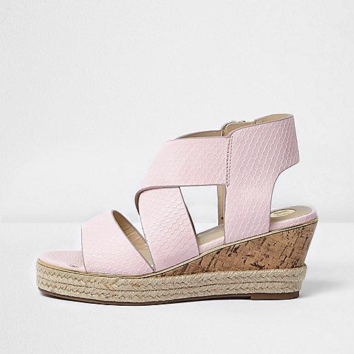 Girls light pink wedge sandals