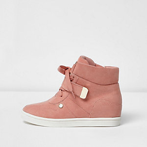 Girls orange hi top wedge trainers