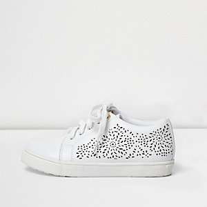 Girls white laser cut plimsolls