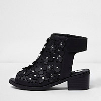 Girls black flower laser cut shoe boots