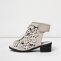 Girls nude flower laser cut shoe boots