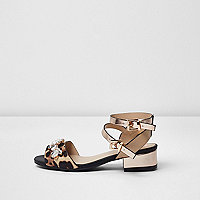 Girls brown animal print block heel sandal