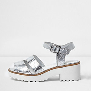 Girls silver metallic chunky sandals