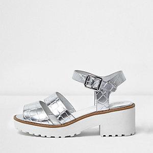 Sandales argentées métallisées à semelle épaisse pour fille