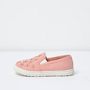 Mini girls orange star stud plimsolls