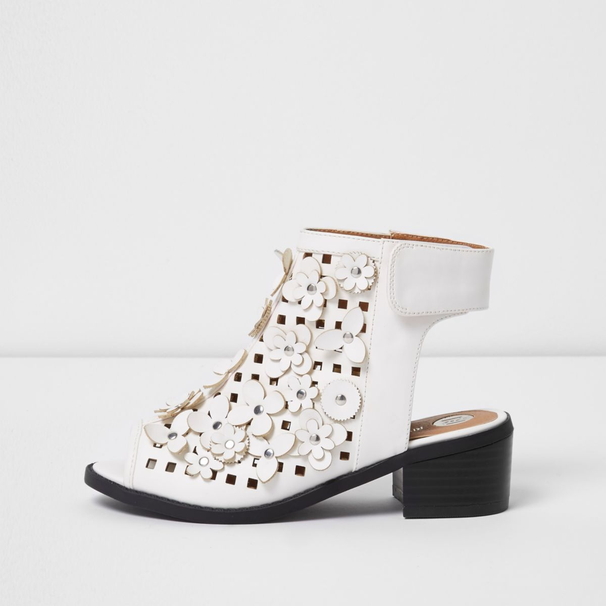 Girls white flower laser cut shoe boots