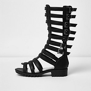 Girls black knee high gladiator sandals