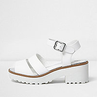 Girls white chunky sandals