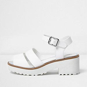 Girls white chunky sandals