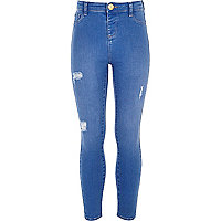Girls mid blue Molly jeggings