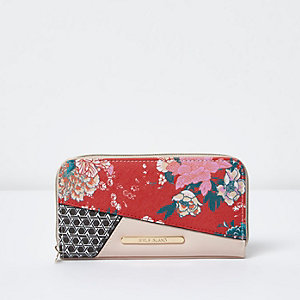 Girls red and pink floral zip around purse