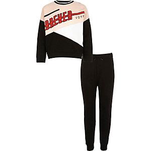 Pantalon de jogging noir et sweat colour block noir pour fille