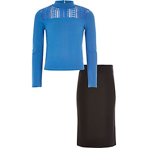 Girls blue high neck top and skirt set