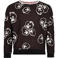 Girls black pansy print sweatshirt