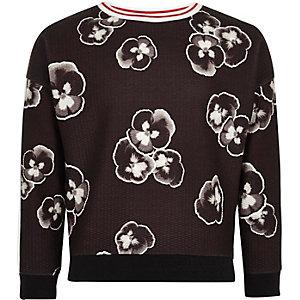 Zwart sweatshirt met viooltjesprint voor meisjes