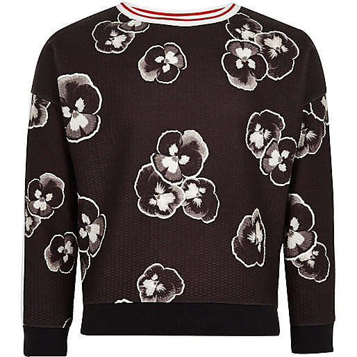 Girls black pansy print sweatshirt