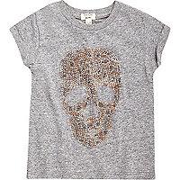 Mini girls grey embellished skull T-shirt