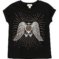 Mini girls black stud angel wings T-shirt
