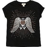 T-shirt noir motif ailes d'ange clouté mini fille