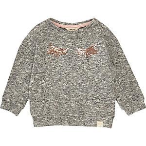 Mini girls grey marl eyelash sweatshirt