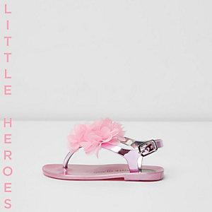 Mini - paarse jelly sandalen met corsage voor meisjes