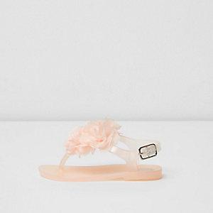 Mini - lichtroze jelly sandalen met corsage voor meisjes