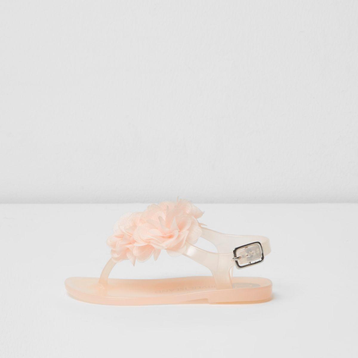 Sandales en plastique rose clair à fleurs 3D mini fille
