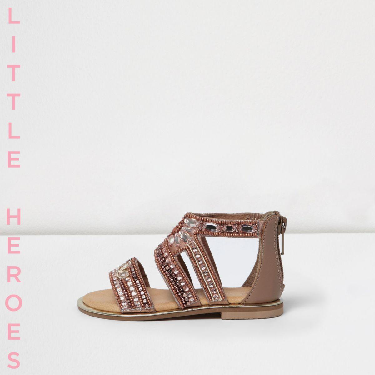 Sandales roses ornées de pierreries pour mini fille