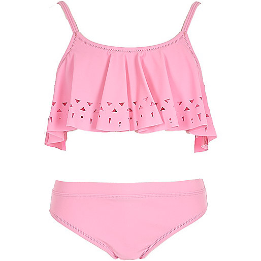 Girls pink laser cut shelf bikini set