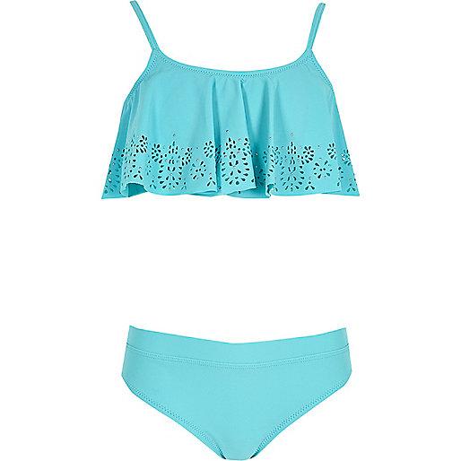 Girls blue laser cut shelf bikini set