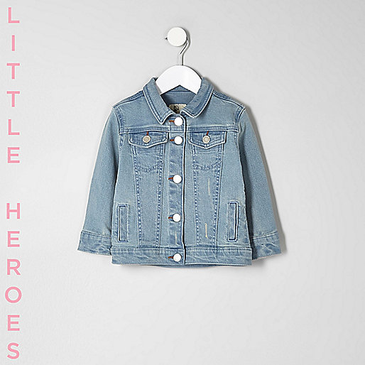 Mini girls blue slogan print denim jacket