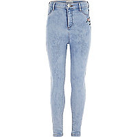 Girls blue heart embroidery Molly jeggings