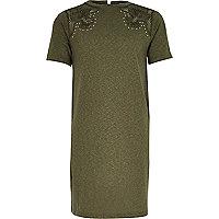 Girls khaki green western T-shirt dress