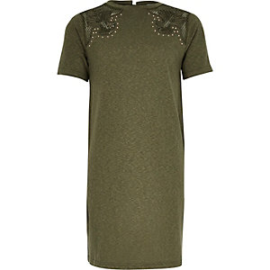 Girls khaki green western T-shirt dress